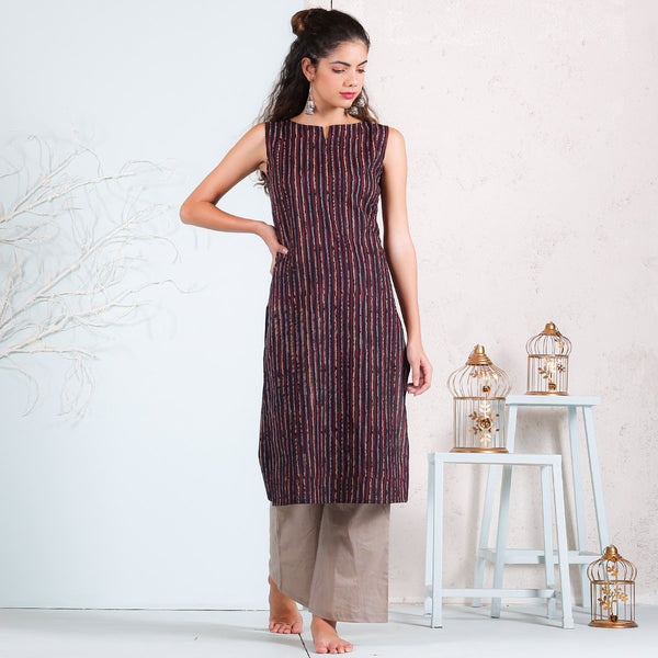 Black Multicolour Striped Keyhole Sleeveless Kurta
