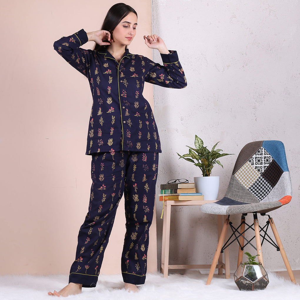 Blue Floral Notched Collar Pajama Set