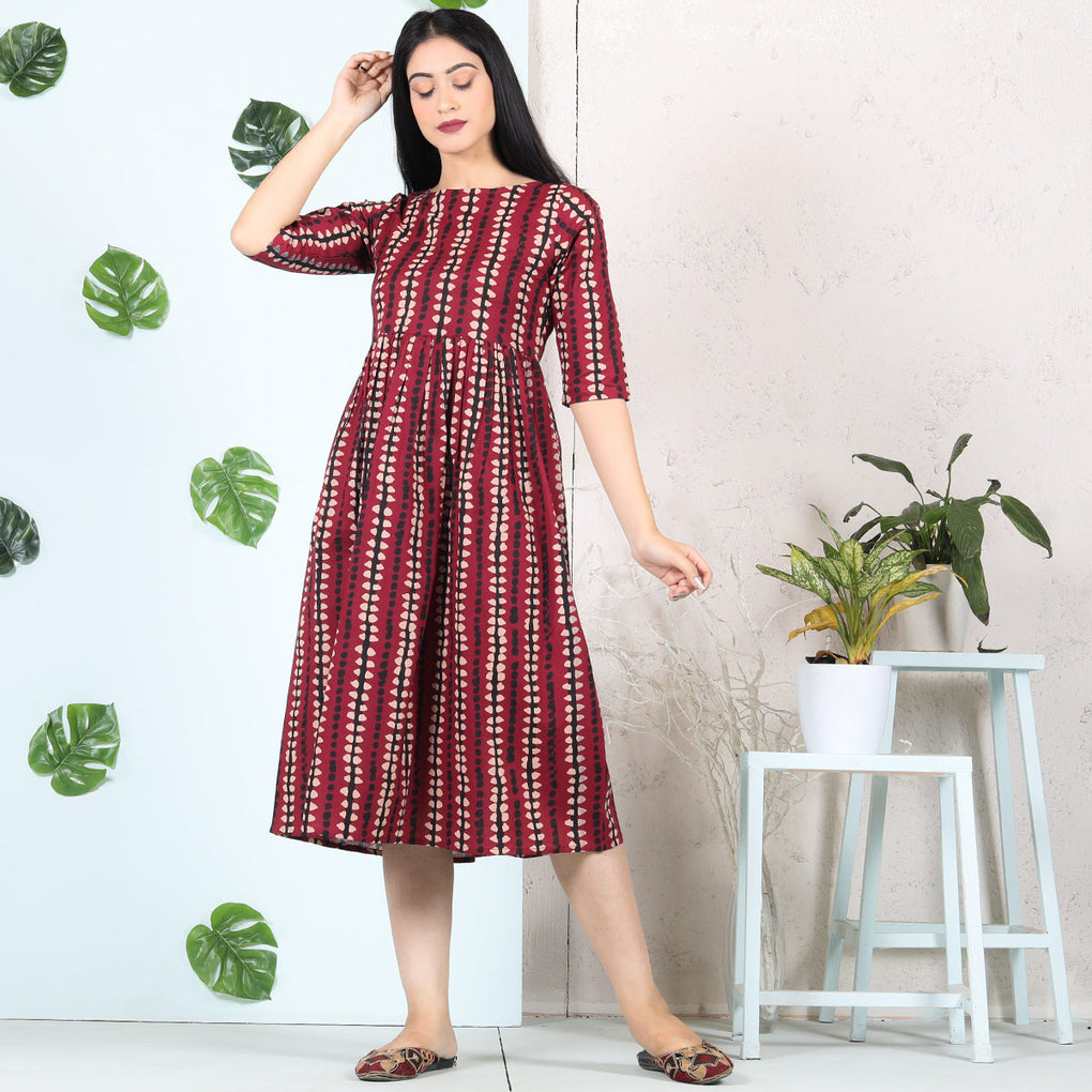 Maroon Abstract Stripes Cotton Gather Dress