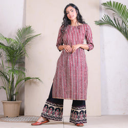 Beige Striped Kurta Palazzo Set with Temple Border