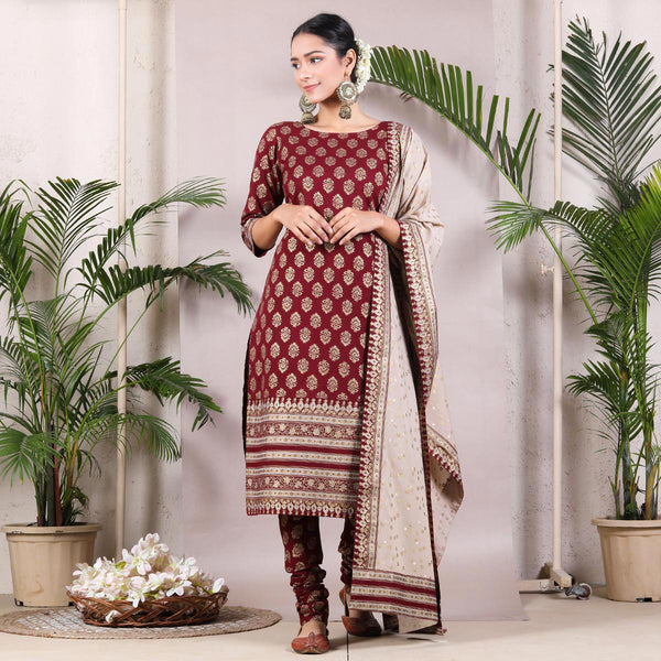 Maroon Gold Printed Kurta & Churidar with Beige Printed Dupatta