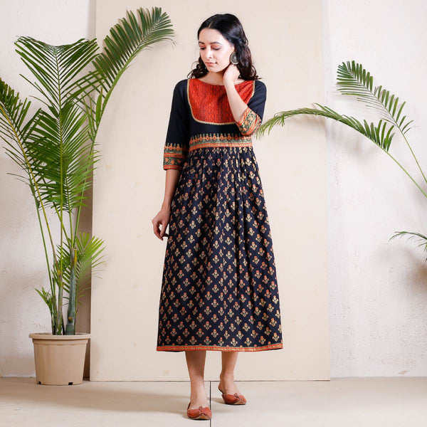 Black & Rust Buti Printed Gathered Cotton Dress with Yoke Details