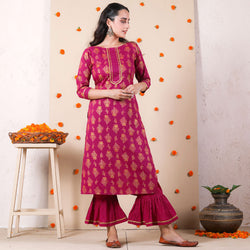 Magenta Festive Kurta Set with Frilled Pants & Gota Work