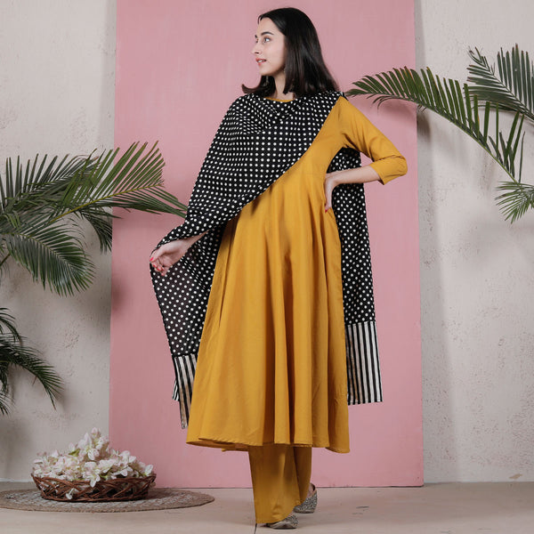 Yellow Flared Kurta Palazzo Set with Black Polka & Striped Dupatta