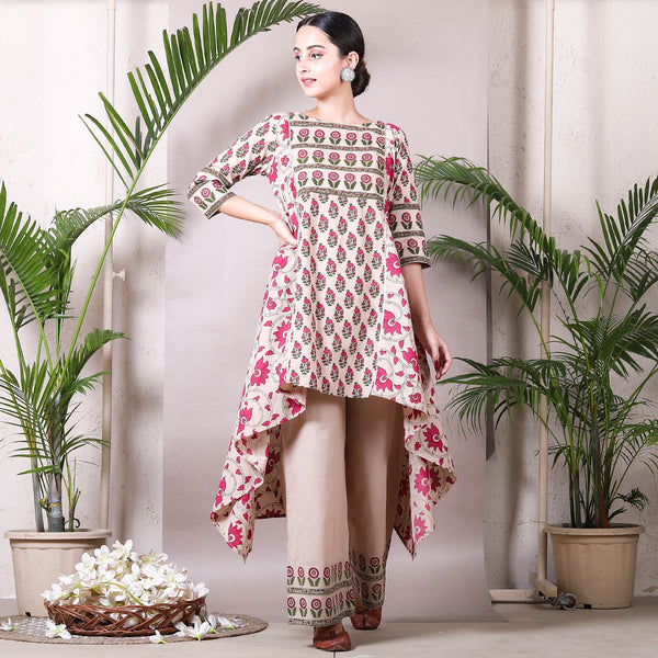 Beige Floral Bloom Asymmetric Kurta with Palazzo