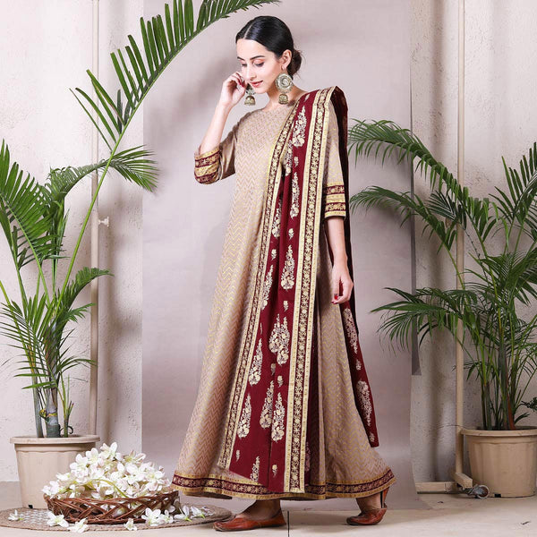 Beige Gold Printed Kalidaar Dress with Maroon Dupatta