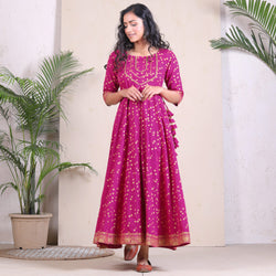 Pink Flared Kalidaar Dress with Gota, Border & Tassel Details