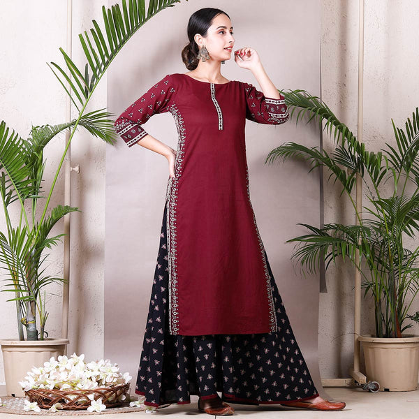 Maroon Side Detailed Kurta with Black Skirt