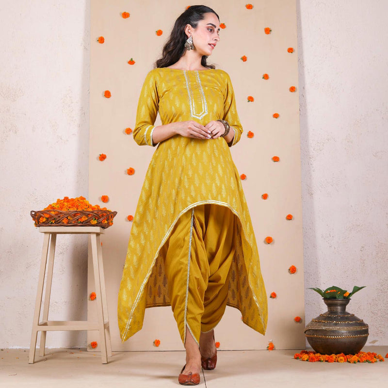 Yellow Gold Printed Dhoti & Asymmetric Kurta Set with Gota Details