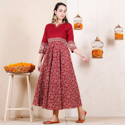 Laal Baagh Printed Flared Cotton Dress