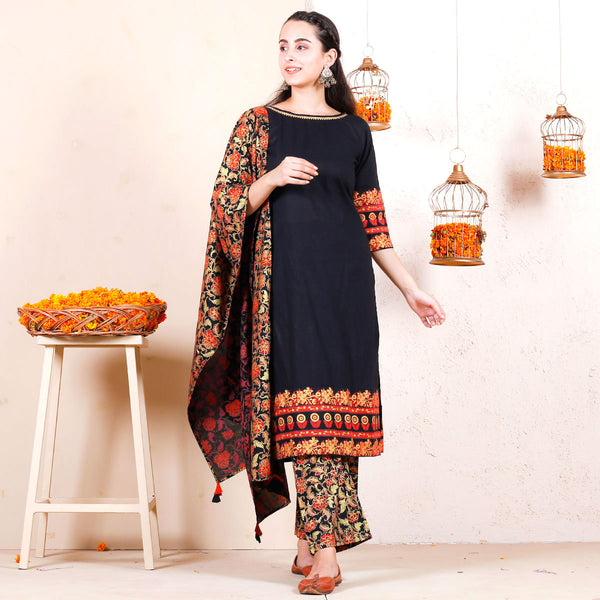 Black Gold Floral Kurta Pant Set with Multicolour Dupatta