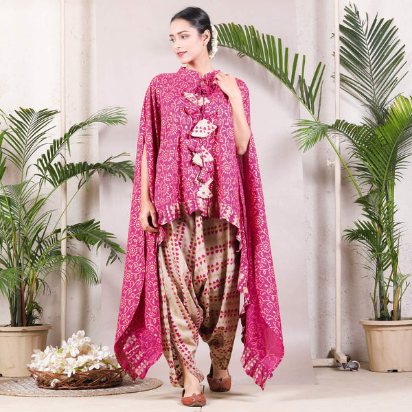 Magenta & Beige Dhoti Cape Set with Tassel Details