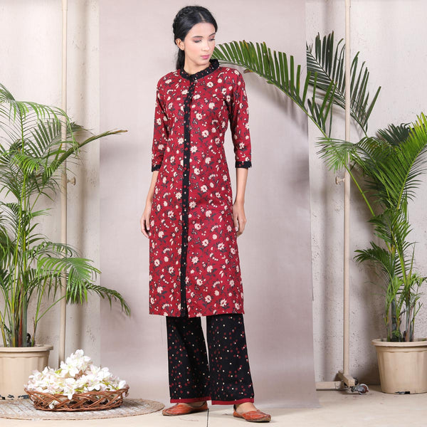 Dark Floral Front Open Shirt Kurta Set with Floral Chintz Pants