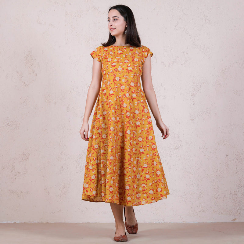 Yellow Floral Printed Flared Dress