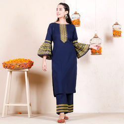 Blue Gold Printed Cotton Kurta with Frilled Sleeves & Pants