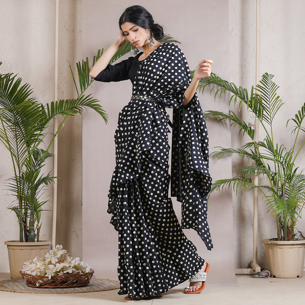 Black & White Polka Printed Ruffle Cotton Saree