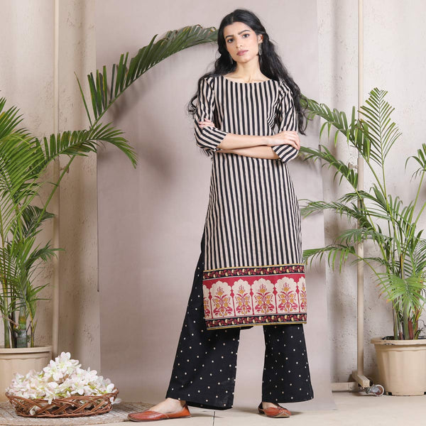 Black Kurta Palazzo Set with Temple Border