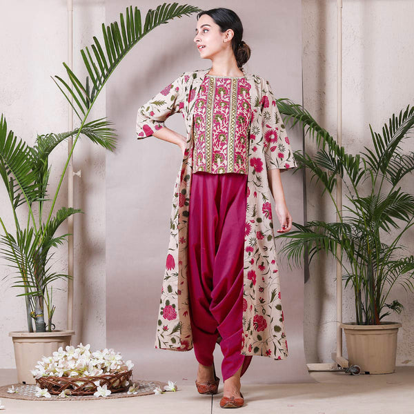 Magenta & Beige Dhoti Top Set with Detachable Shrug