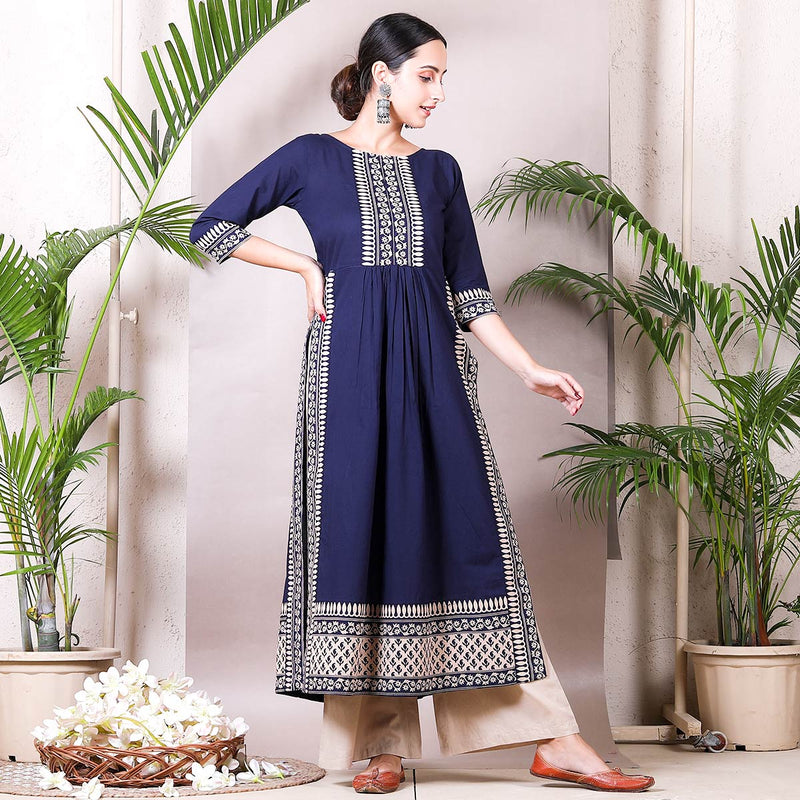 Blue Front Gather Kurta Palazzo Set