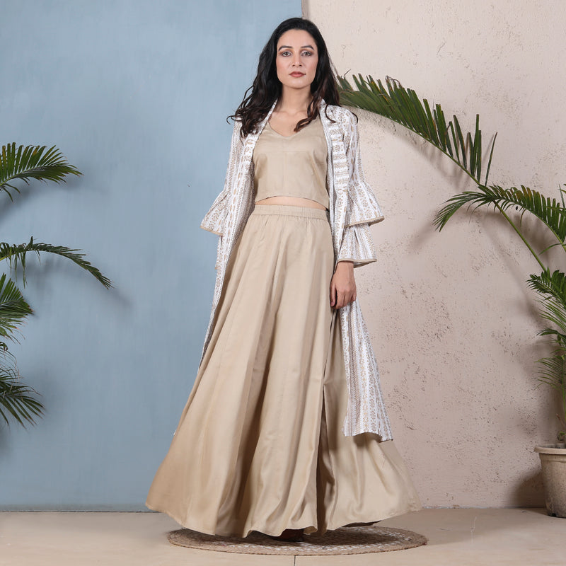 Beige Crop Top Skirt Set with Tiered Bell Sleeves Shrug