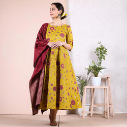 Yellow Maroon Floral Long Kurti with Odhna