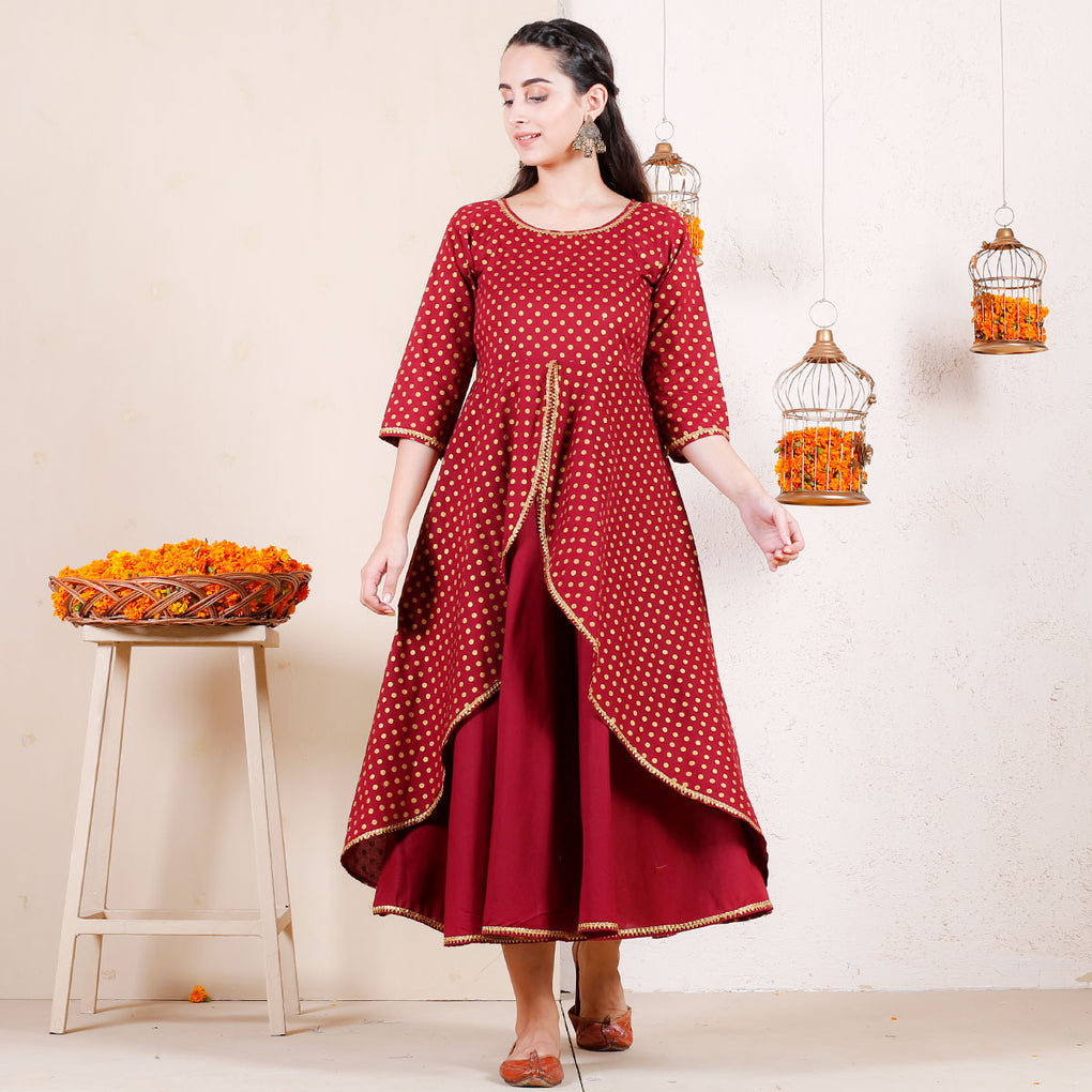 Maroon & Gold Festive Layered Cotton Dress with Gota Details