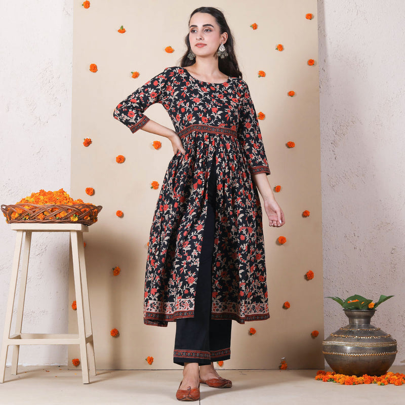 Black Blossom Front Slit Gathered Kurta Pant Set