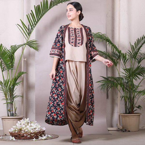 Beige Dhoti Top Set with Detachable Black Floral Shrug