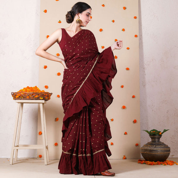 Maroon Gold Polka Mermaid Frilled Saree