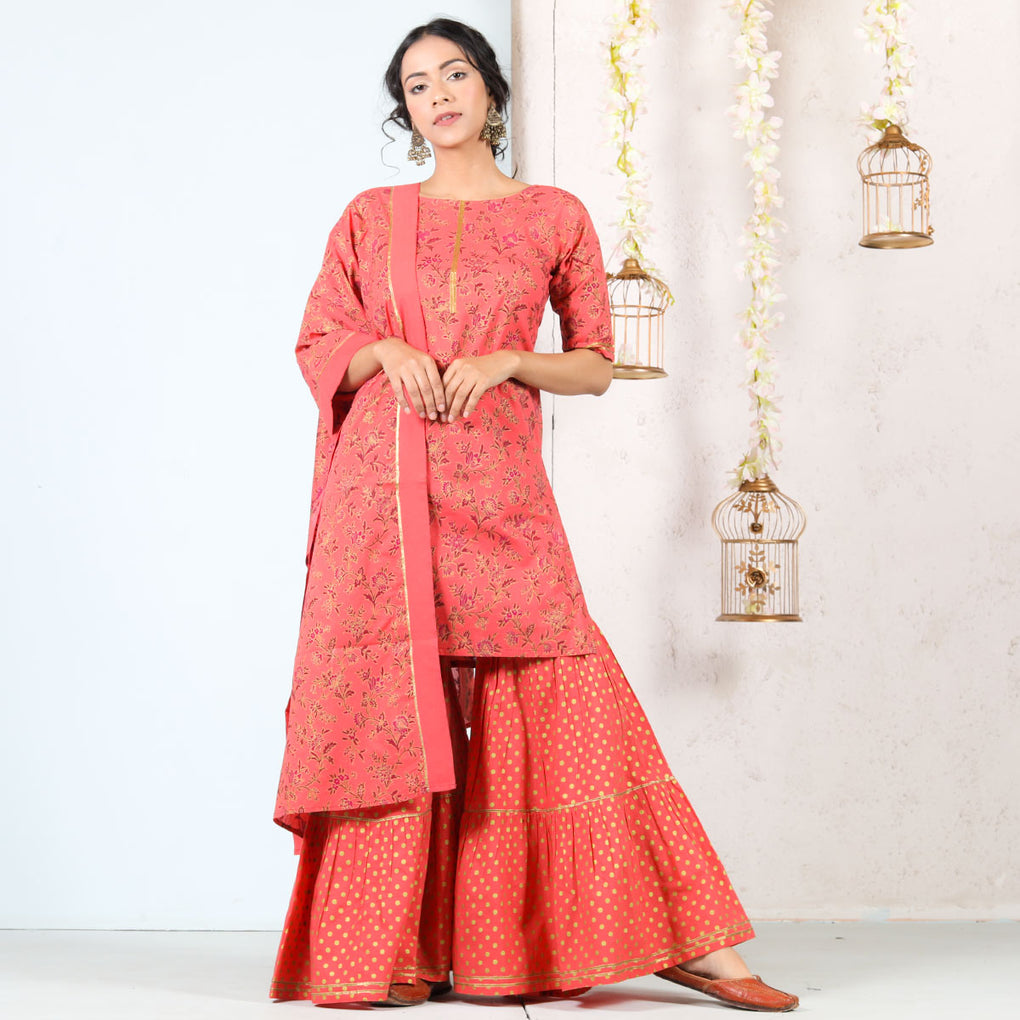 Peach & Gold Floral Tiered Gharara Kurta Cotton Set