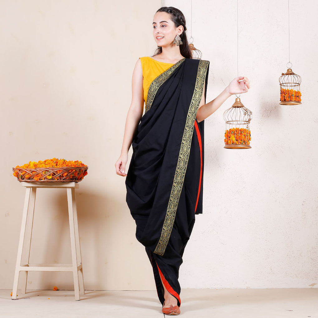 Pitch Dark Festive Dhoti Cotton Saree