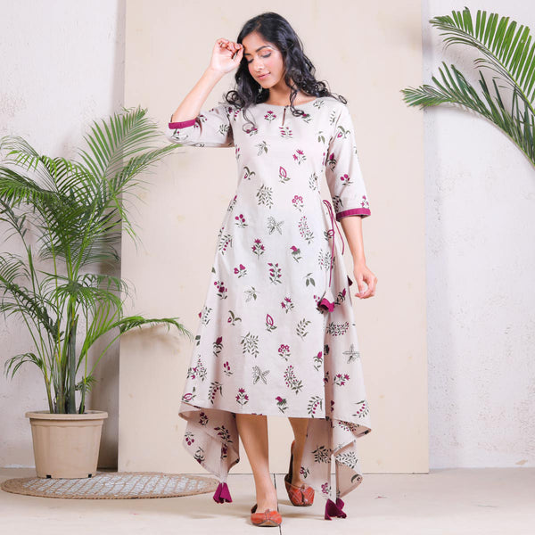 Beige Floral Buta Printed Asymmetric Dress with Tassels