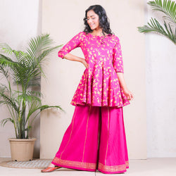 Magenta Floral Printed Peplum Sharara Set with Gota Details