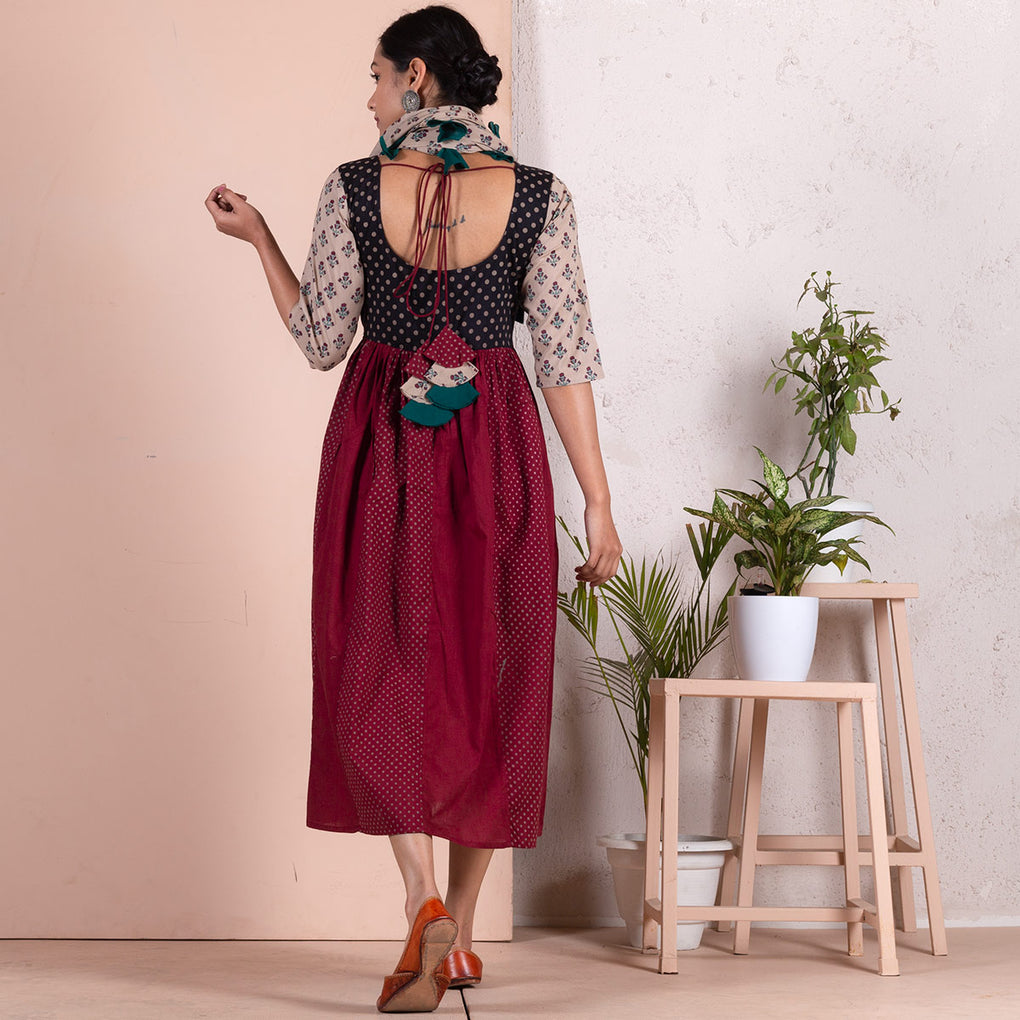 Black & Maroon Gather Kali Dress with Scarf