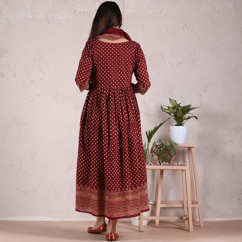 Traditional Polka Gathered Cotton Dress with Scarf & Border Details
