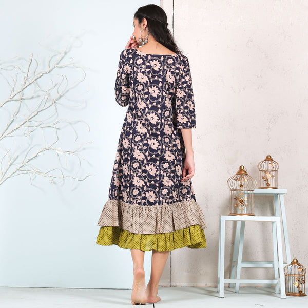 Blue Floral Jaal Printed Cotton Double Frill Dress