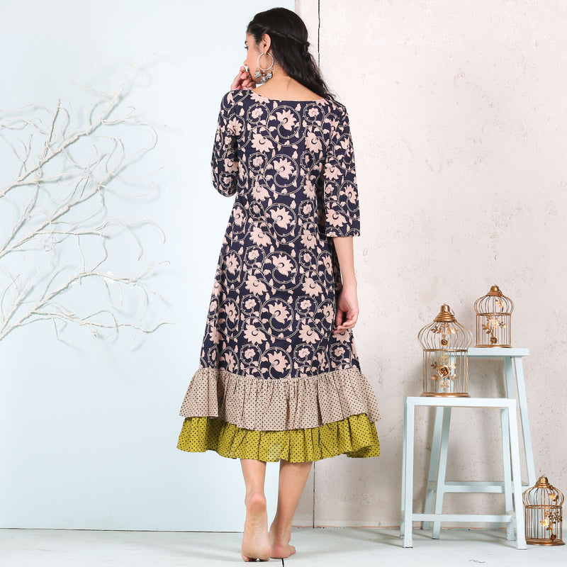 Blue Floral Jaal Printed Double Frill Dress