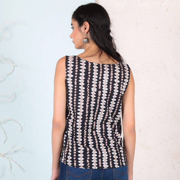 Black Stone Printed Sleeveless Top