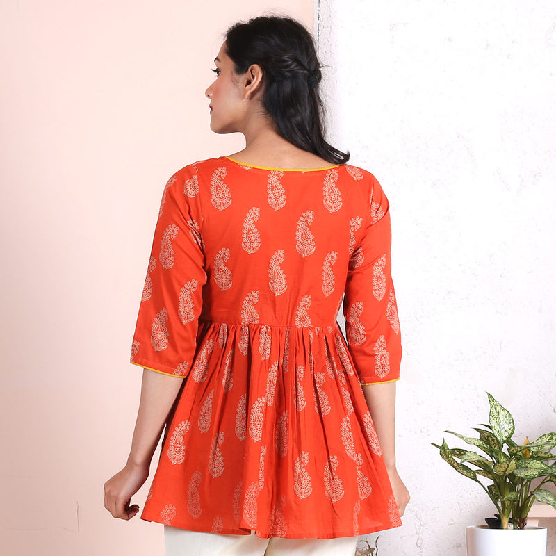 Rust Paisley Gathered Top