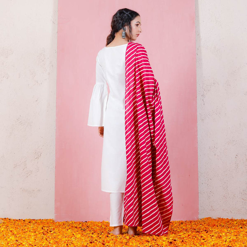 Pink & White Leheriya Inspired Dupatta with Bell Sleeved Salwar Kurta
