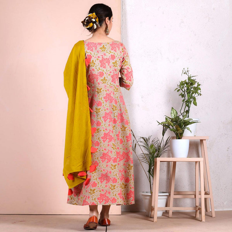 Beige Peach Floral Long Kurti with Odhna
