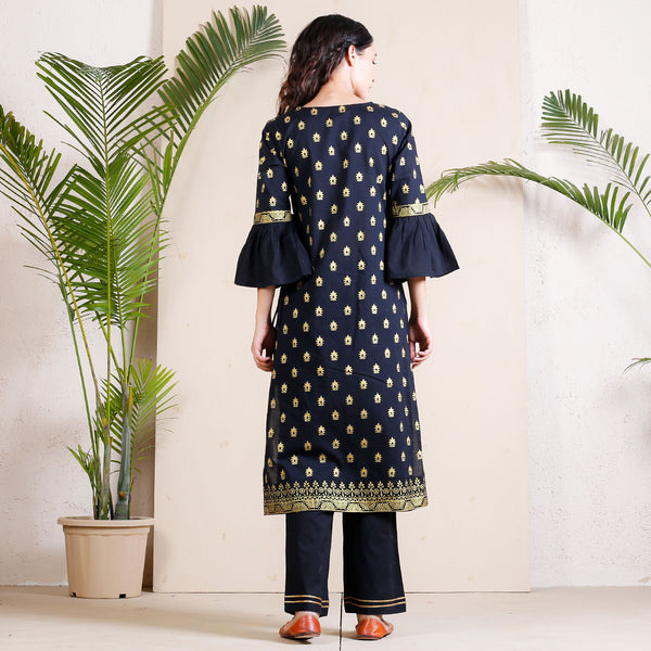 Black Festive Angrakha Bell Sleeves Kurta with Tassels
