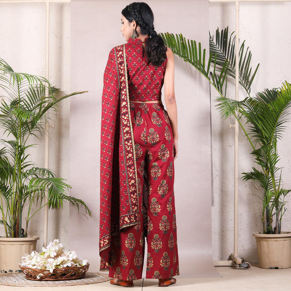 Maroon Bagh Printed Pant Saree with Tassels