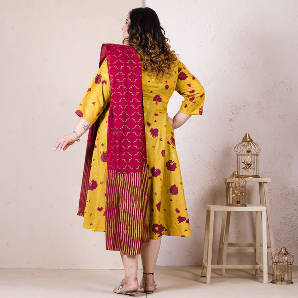 Yellow Maroon Floral Long Kurti with Odhna - SOY