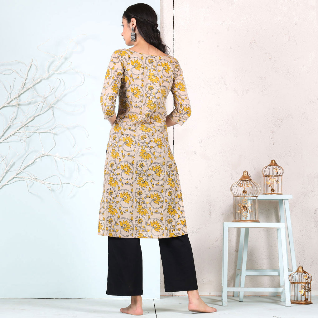 Yellow Floral Printed Beige Cotton Kurta