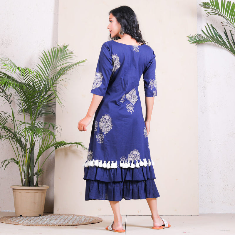 Blue with Beige Buta Printed Double Frilled Cotton Dress with Tassels