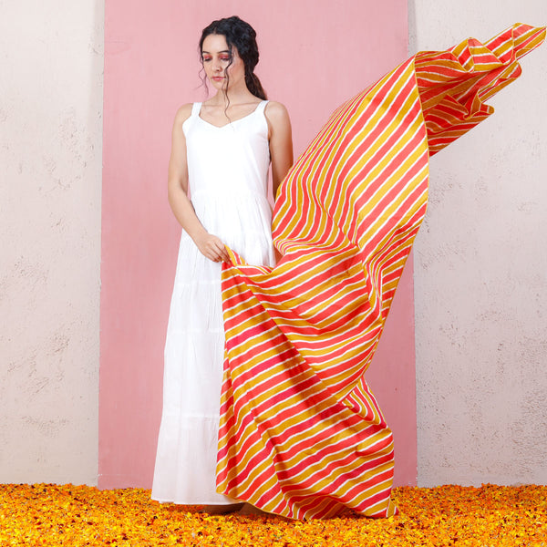Tutti Frutti Leheriya Inspired Dupatta with White Tiered Dress