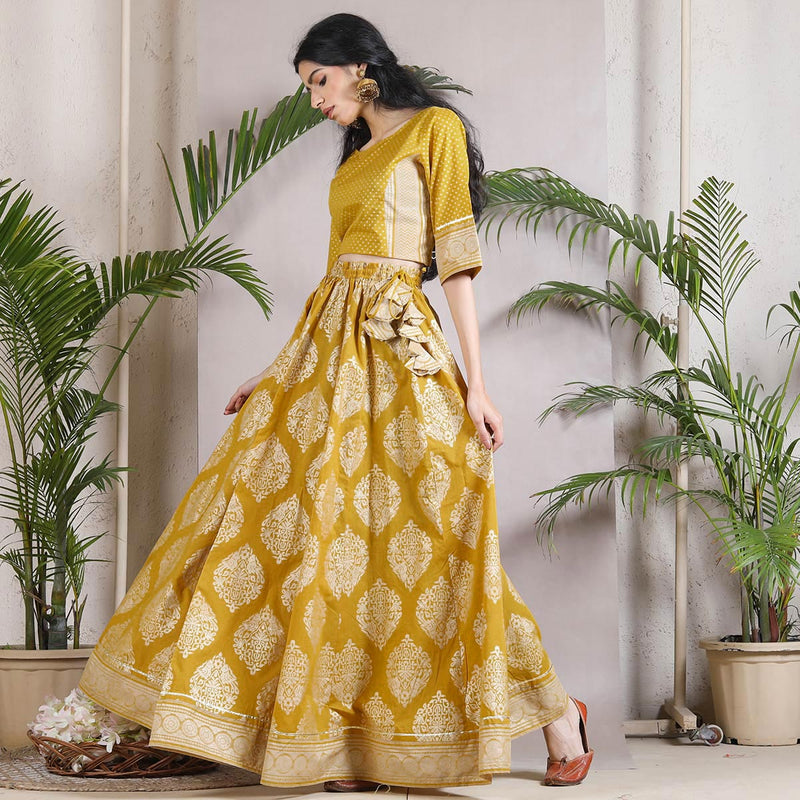 Sud Barg Lehenga Crop Top Set