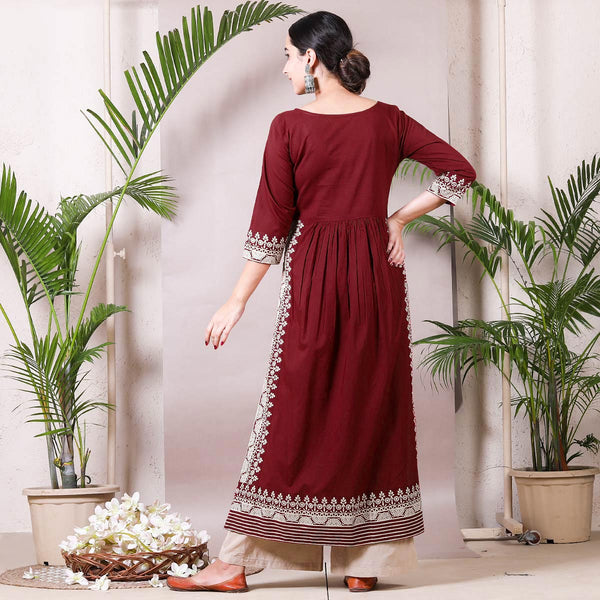 Maroon & Beige Border Printed Front Gather Kurta Palazzo Set