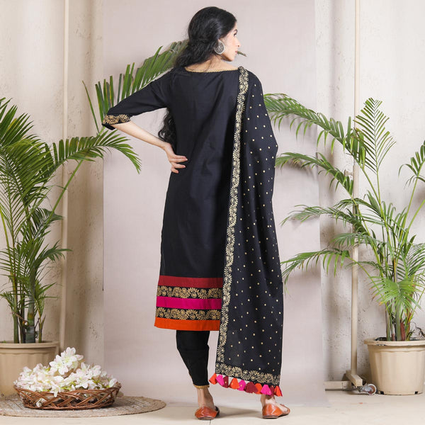 Black Multicoloured & Polka Dhoti Kurta Dupatta Set with Tassel Details
